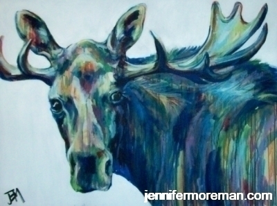 Murry the Christmas Moose- 30x40\'\' SOLD