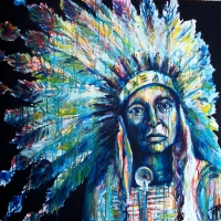 Bih-Keh-He (Navajo for War Chief) 36x36- SOLD