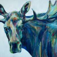 Murry the Christmas Moose- 30x40'' SOLD